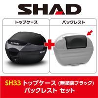 【セット売り】SH33トップケース 無塗装ブラック 2017新モデル バックレスト セット