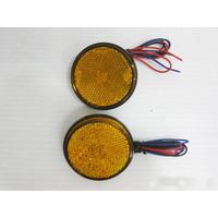汎用LED丸型リフレクター 12V オレンジ 2個セット